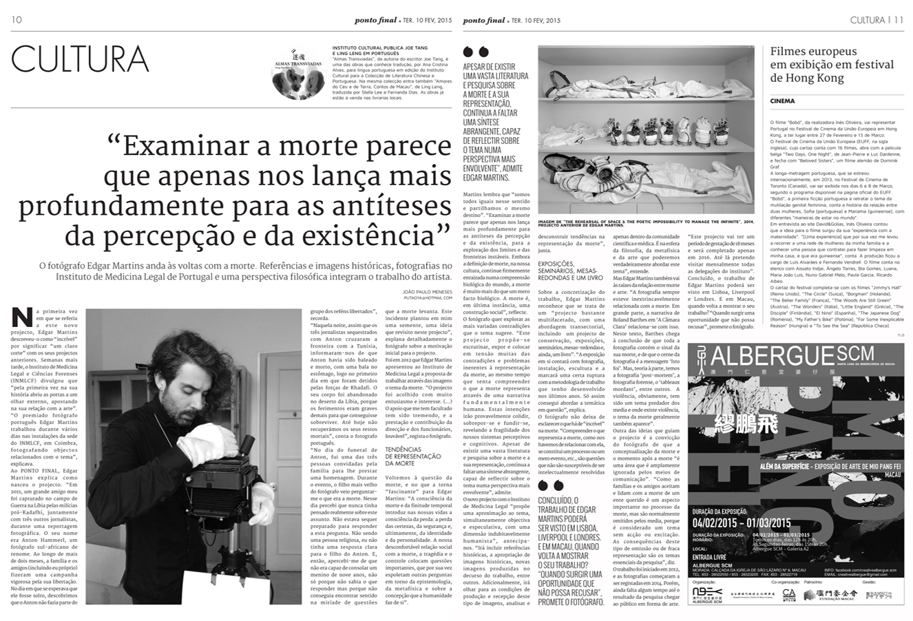Ponto Final interviews Edgar Martins about his work with the Institute of Legal Medicine